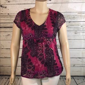 Axcess Liz Claiborne XL Paisley Empire Blouse